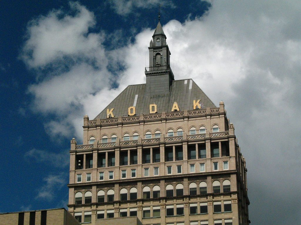 The top of the Kodak Tower, August 2008 | By Thomas Belknap from Rochester, NY, USA