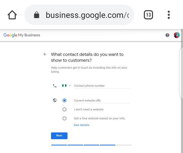 Google My Business Screenshot - Contact details