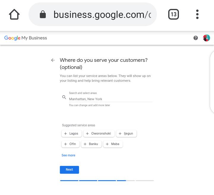 Google My Business Screenshot - Address
