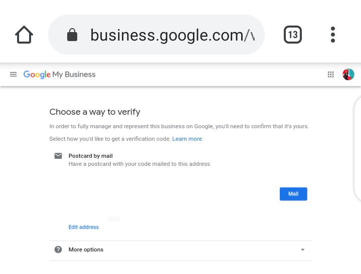 Google My Business Screenshot - Verification method